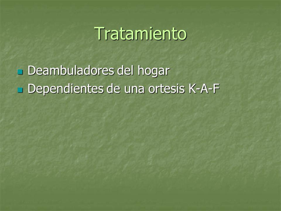 Tratamiento Deambuladores del hogar Deambuladores del hogar Dependientes de una ortesis K-A-F Dependientes de una ortesis K-A-F