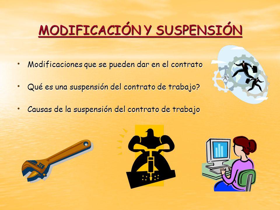MODIFICACIÓN Y SUSPENSIÓN Modificaciones que se pueden dar en el contrato Modificaciones que se pueden dar en el contrato Qué es una suspensión del co