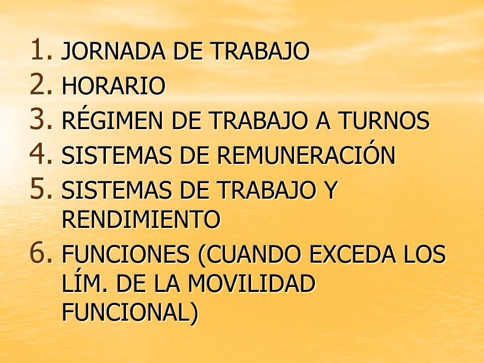 1. JORNADA DE TRABAJO 2. HORARIO 3. RÉGIMEN DE TRABAJO A TURNOS 4. SISTEMAS DE REMUNERACIÓN 5. SISTEMAS DE TRABAJO Y RENDIMIENTO 6. FUNCIONES (CUANDO