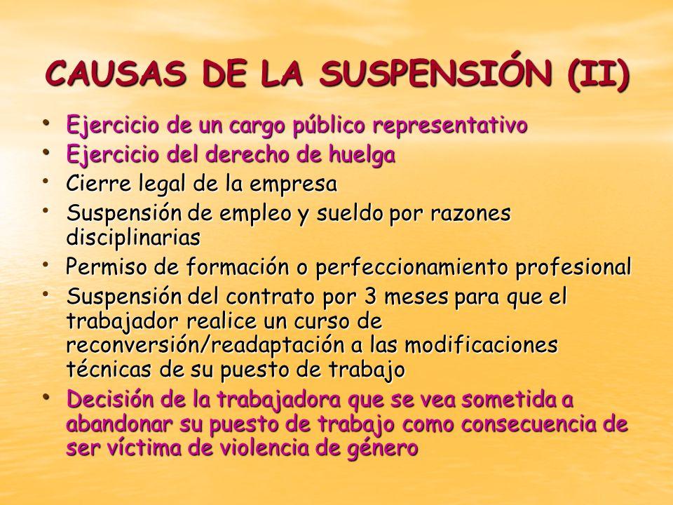 CAUSAS DE LA SUSPENSIÓN (II) Ejercicio de un cargo público representativo Ejercicio de un cargo público representativo Ejercicio del derecho de huelga