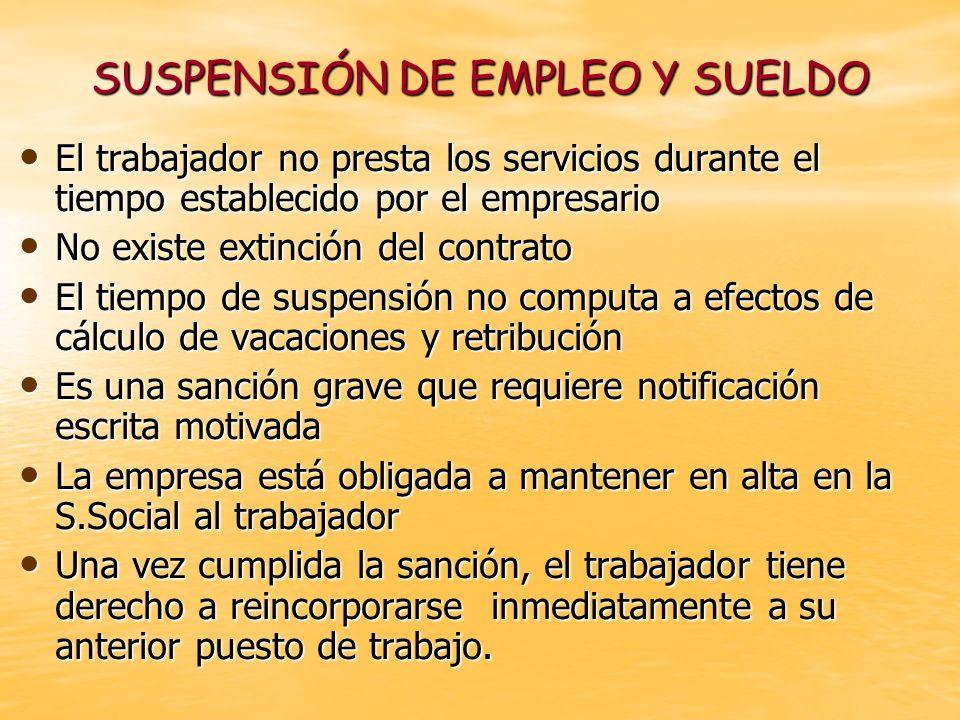 SUSPENSIÓN DE EMPLEO Y SUELDO El trabajador no presta los servicios durante el tiempo establecido por el empresario El trabajador no presta los servic