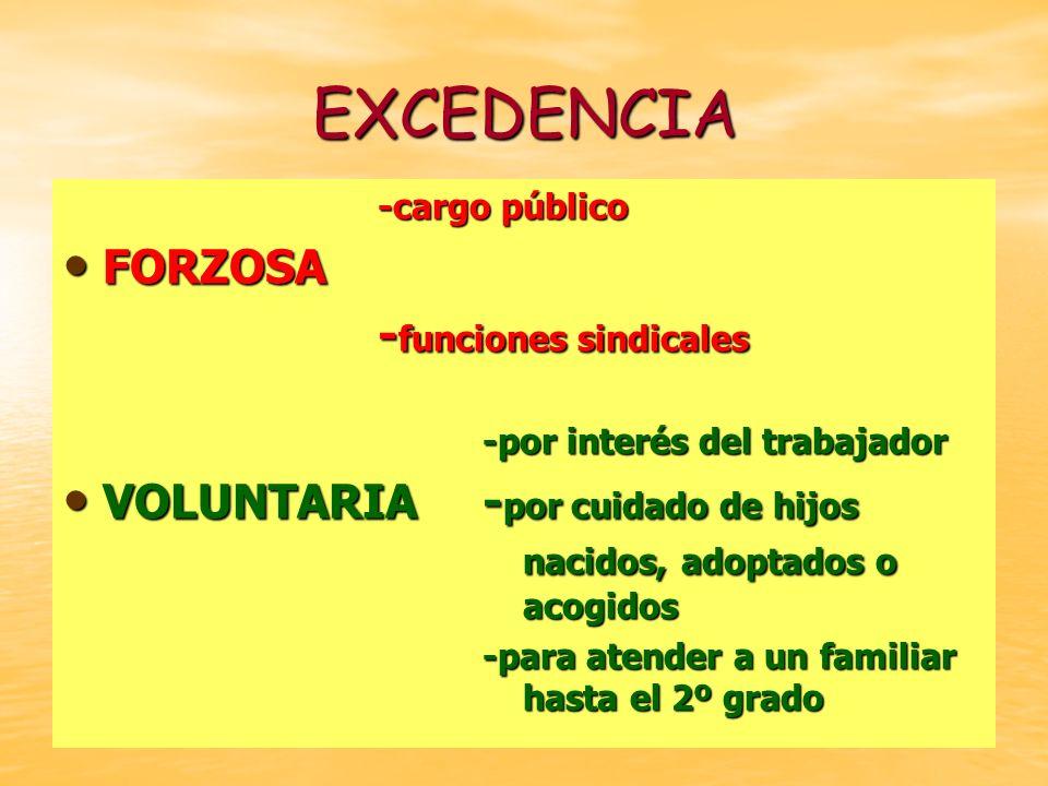 EXCEDENCIA -cargo público FORZOSA FORZOSA - funciones sindicales -por interés del trabajador VOLUNTARIA- por cuidado de hijos nacidos, adoptados o aco