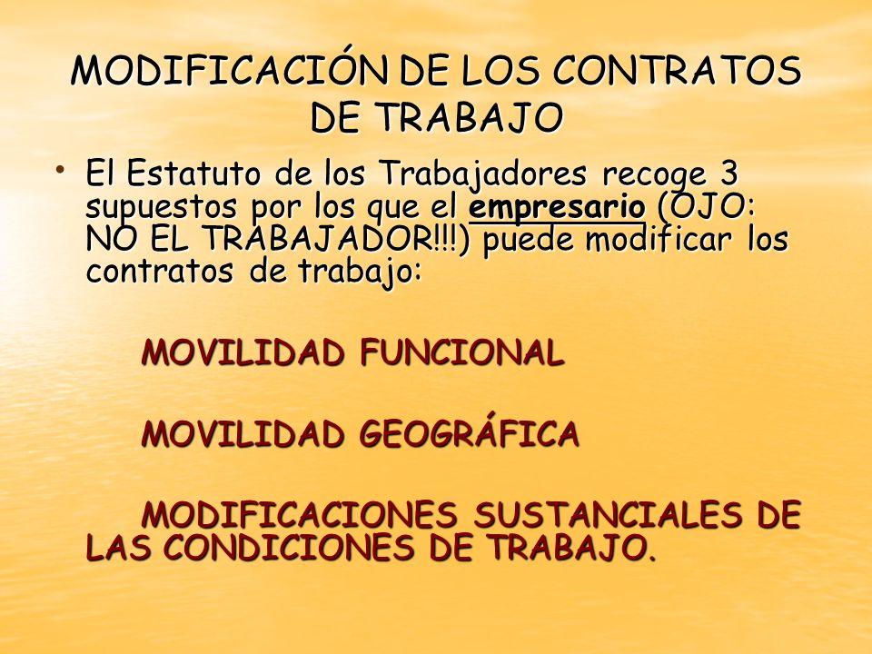El Estatuto de los Trabajadores recoge 3 supuestos por los que el empresario (OJO: NO EL TRABAJADOR!!!) puede modificar los contratos de trabajo: El E