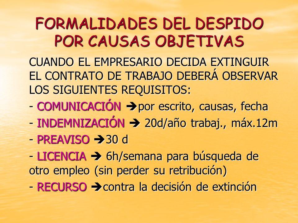 FORMALIDADES DEL DESPIDO POR CAUSAS OBJETIVAS CUANDO EL EMPRESARIO DECIDA EXTINGUIR EL CONTRATO DE TRABAJO DEBERÁ OBSERVAR LOS SIGUIENTES REQUISITOS: