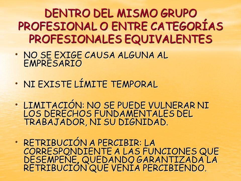 FUERA DEL GRUPO PROFESIONAL O ENTRE CATEGORÍAS PROFESIONALES EQUIVALENTES EXIGE JUSTIFICACIÓN POR CAUSAS ECONÓMICAS EXIGE JUSTIFICACIÓN POR CAUSAS ECONÓMICAS TIENE LIMITACIÓN TEMPORAL TIENE LIMITACIÓN TEMPORAL PUEDEN SER PARA REALIZAR: PUEDEN SER PARA REALIZAR: funciones de inferior categoría o movilidad funcional descendente.