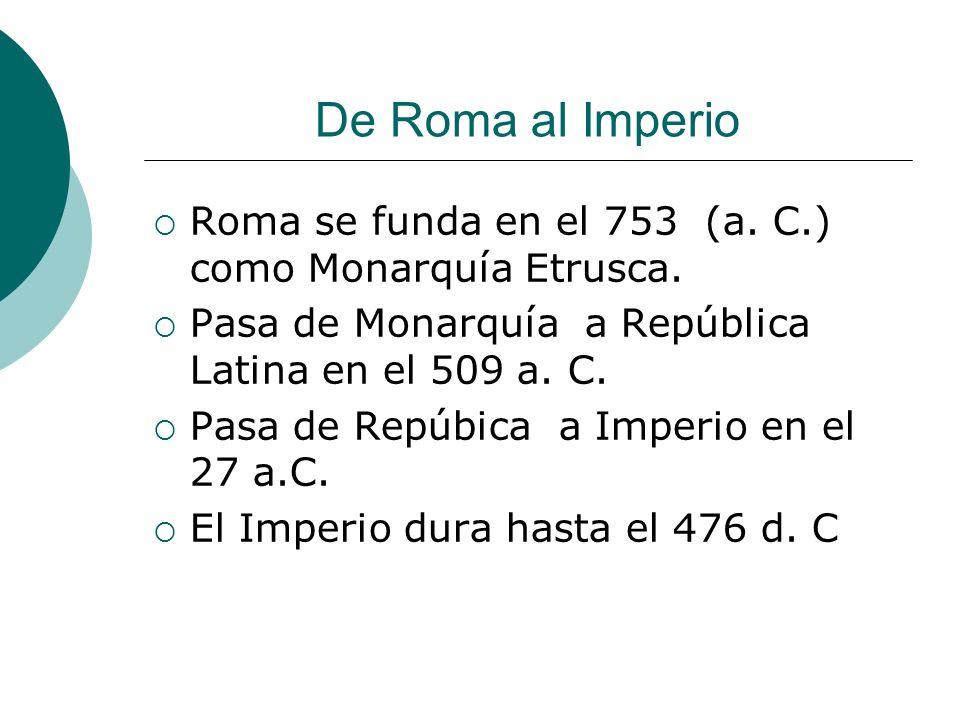 De Roma al Imperio Roma se funda en el 753 (a. C.) como Monarquía Etrusca.