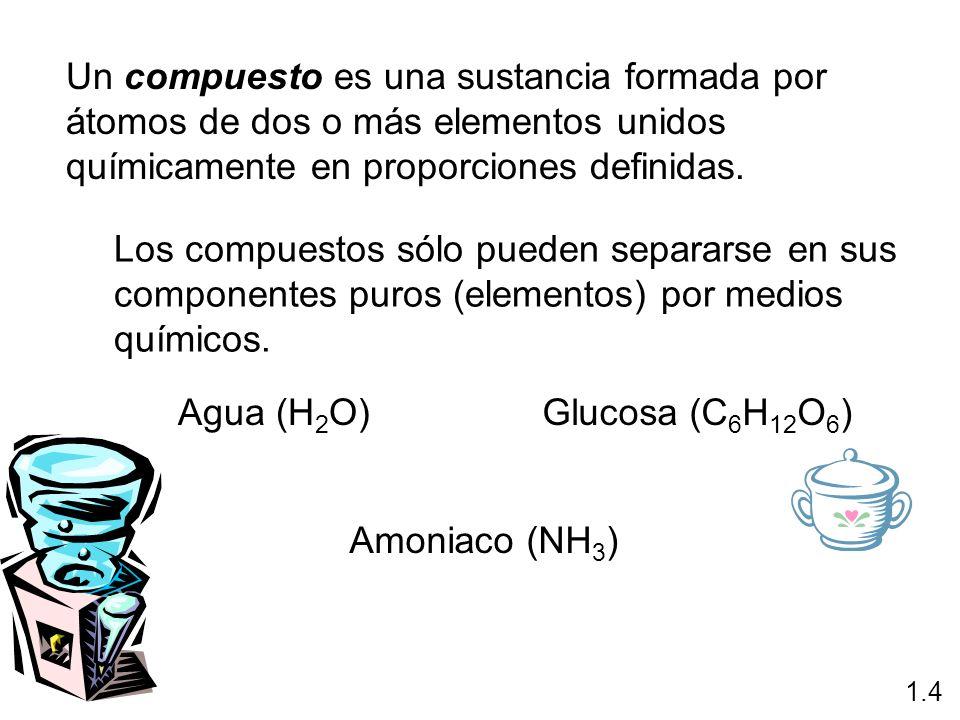 Un compuesto es una sustancia formada por átomos de dos o más elementos unidos químicamente en proporciones definidas. Los compuestos sólo pueden sepa