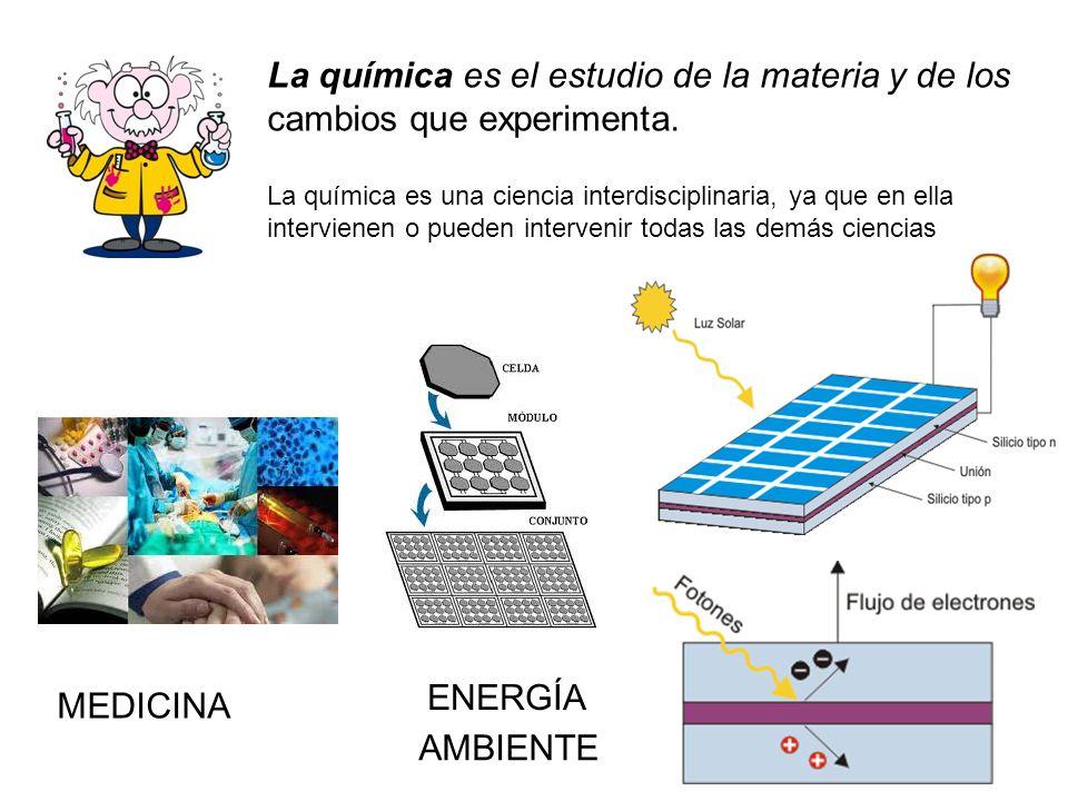 La química es una ciencia interdisciplinaria, ya que en ella intervienen o pueden intervenir todas las demás ciencias MEDICINA ENERGÍA AMBIENTE La quí