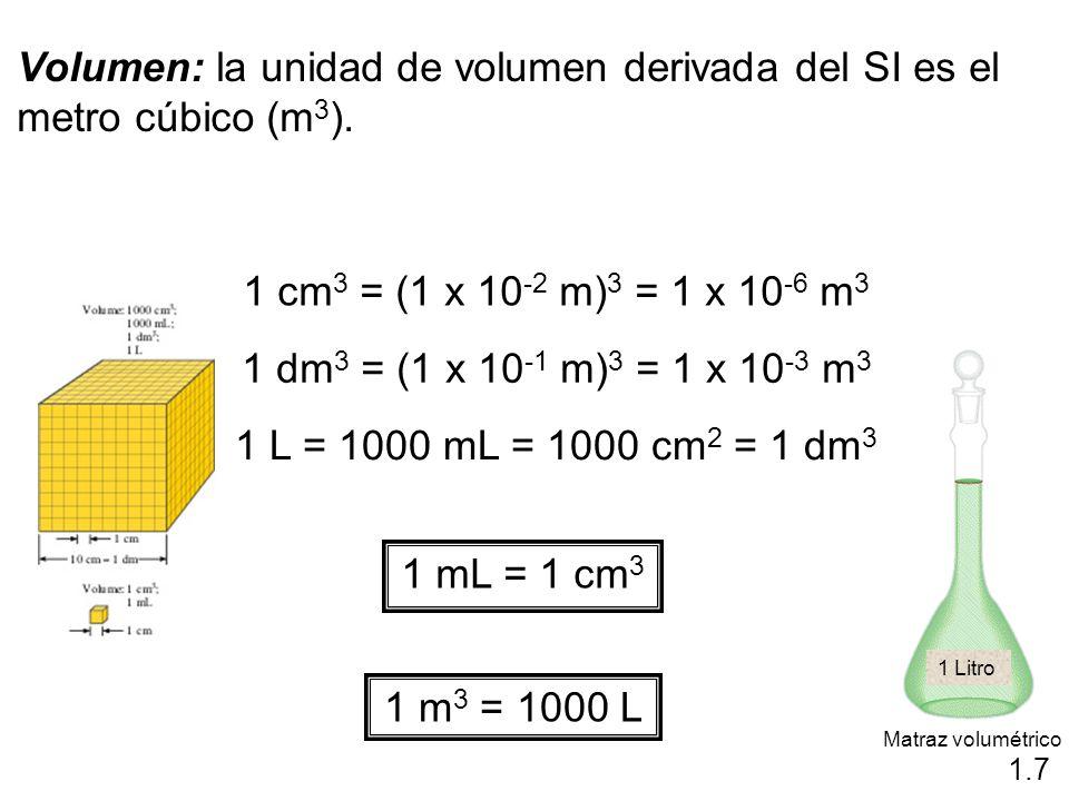 Volumen: la unidad de volumen derivada del SI es el metro cúbico (m 3 ). 1 cm 3 = (1 x 10 -2 m) 3 = 1 x 10 -6 m 3 1 dm 3 = (1 x 10 -1 m) 3 = 1 x 10 -3