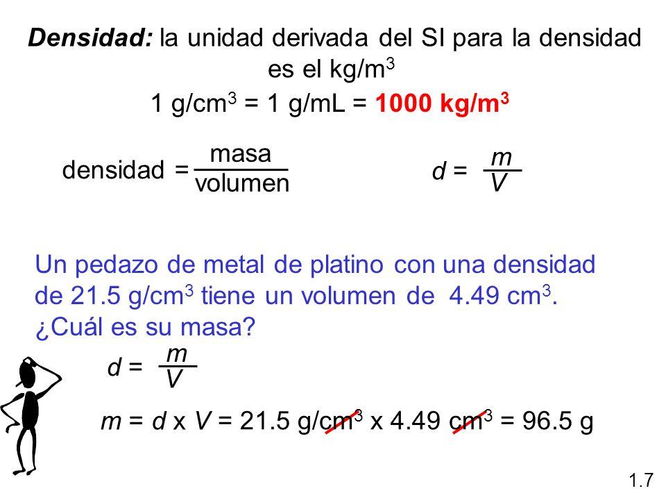 Densidad: la unidad derivada del SI para la densidad es el kg/m 3 1 g/cm 3 = 1 g/mL = 1000 kg/m 3 densidad = masa volumen d = m V 1.7 Un pedazo de met