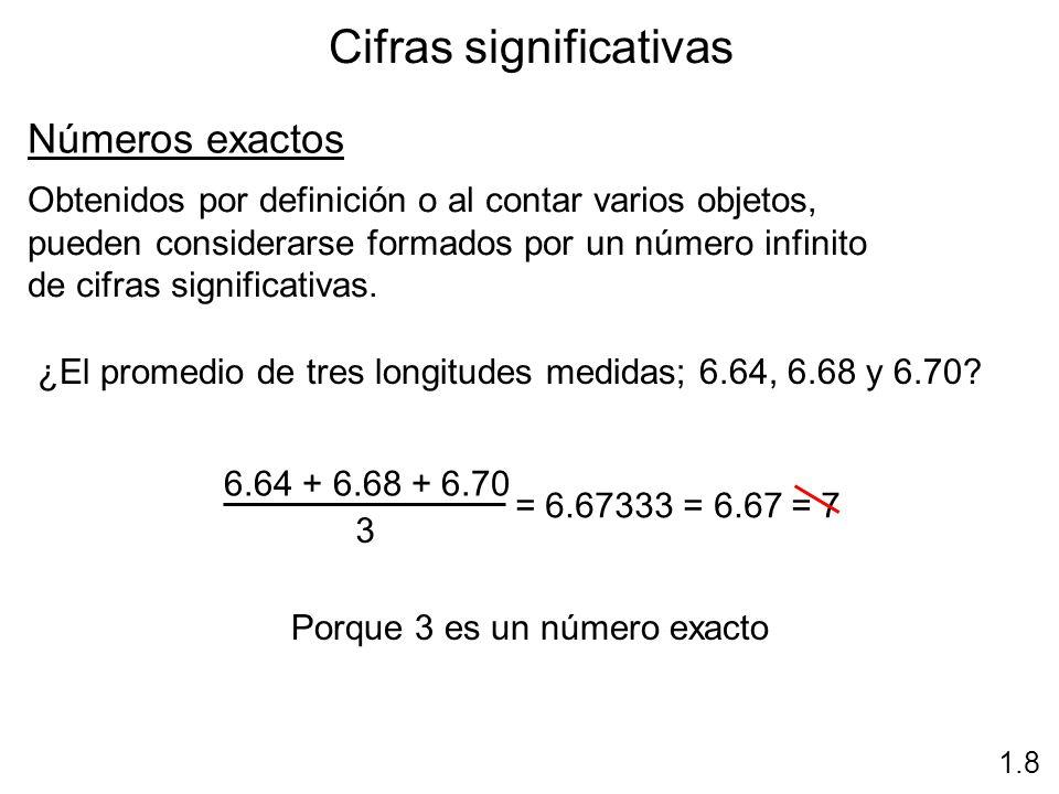 Cifras significativas 1.8 Números exactos Obtenidos por definición o al contar varios objetos, pueden considerarse formados por un número infinito de