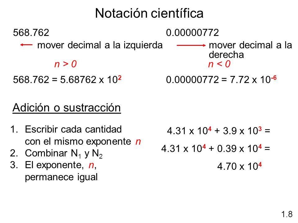 Notación científica 1.8 568.762 n > 0 568.762 = 5.68762 x 10 2 mover decimal a la izquierda 0.00000772 n < 0 0.00000772 = 7.72 x 10 -6 mover decimal a