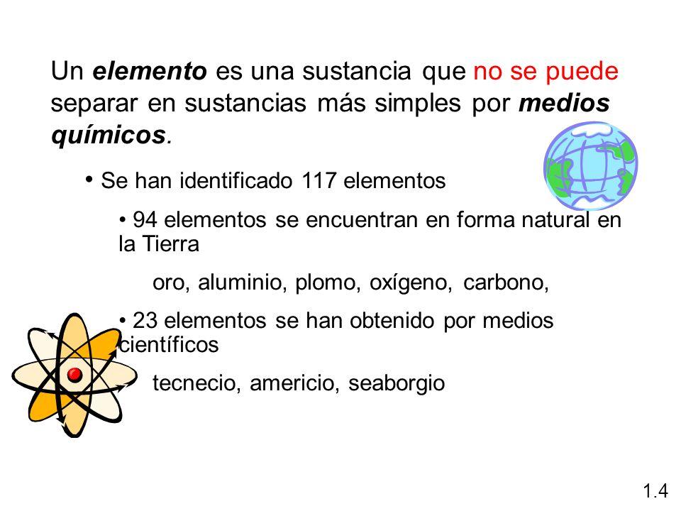 Un elemento es una sustancia que no se puede separar en sustancias más simples por medios químicos. Se han identificado 117 elementos 94 elementos se