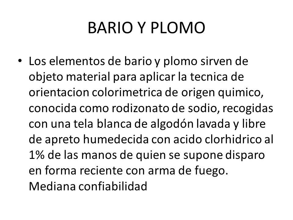 BARIO Y PLOMO Los elementos de bario y plomo sirven de objeto material para aplicar la tecnica de orientacion colorimetrica de origen quimico, conocid