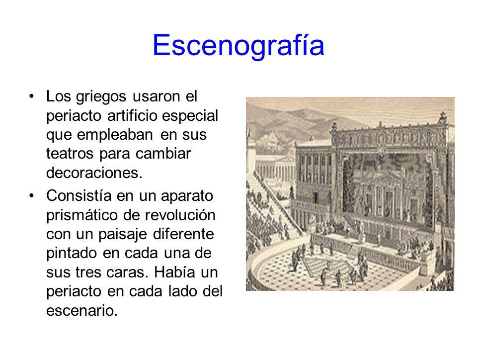 Escenografía Los griegos usaron el periacto artificio especial que empleaban en sus teatros para cambiar decoraciones. Consistía en un aparato prismát