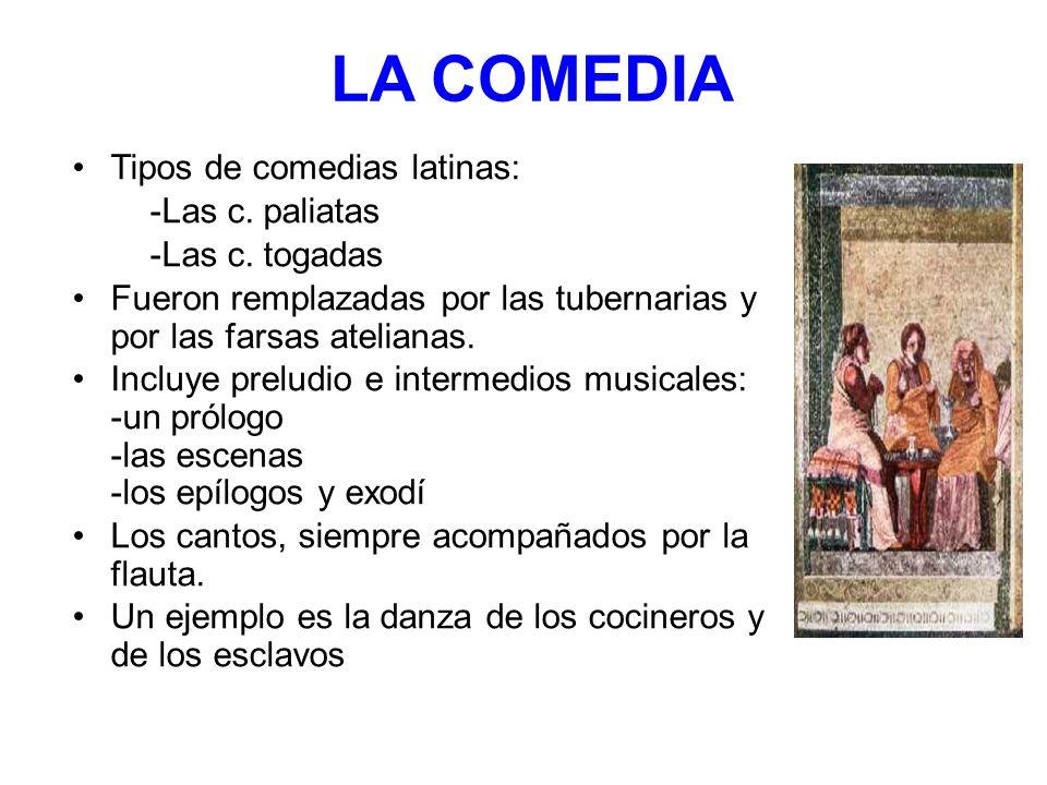 LA COMEDIA Tipos de comedias latinas: -Las c. paliatas -Las c. togadas Fueron remplazadas por las tubernarias y por las farsas atelianas. Incluye prel