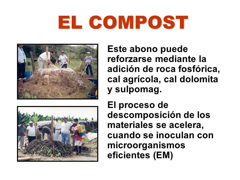 Este abono puede reforzarse mediante la adición de roca fosfórica, cal agrícola, cal dolomita y sulpomag. El proceso de descomposición de los material