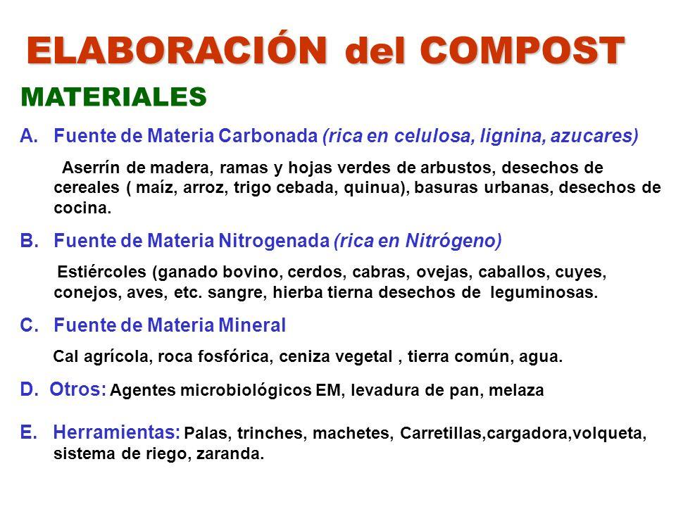 ELABORACIÓN del COMPOST MATERIALES A.Fuente de Materia Carbonada (rica en celulosa, lignina, azucares) Aserrín de madera, ramas y hojas verdes de arbu