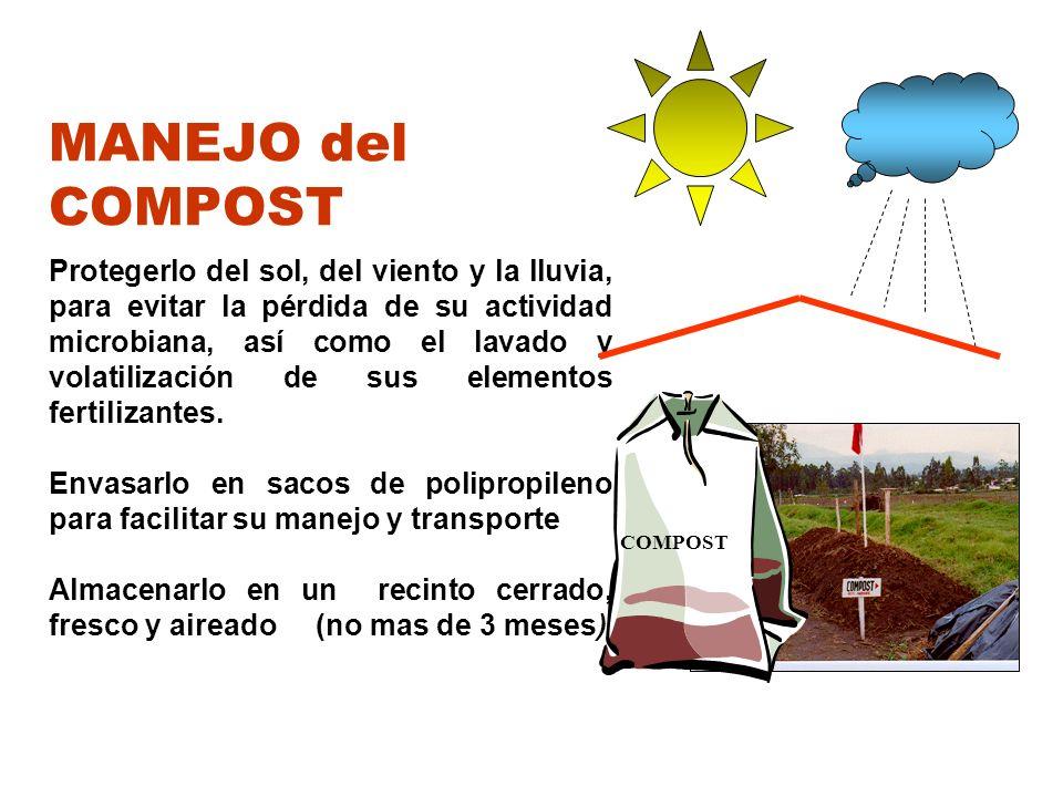 MANEJO del COMPOST Protegerlo del sol, del viento y la lluvia, para evitar la pérdida de su actividad microbiana, así como el lavado y volatilización