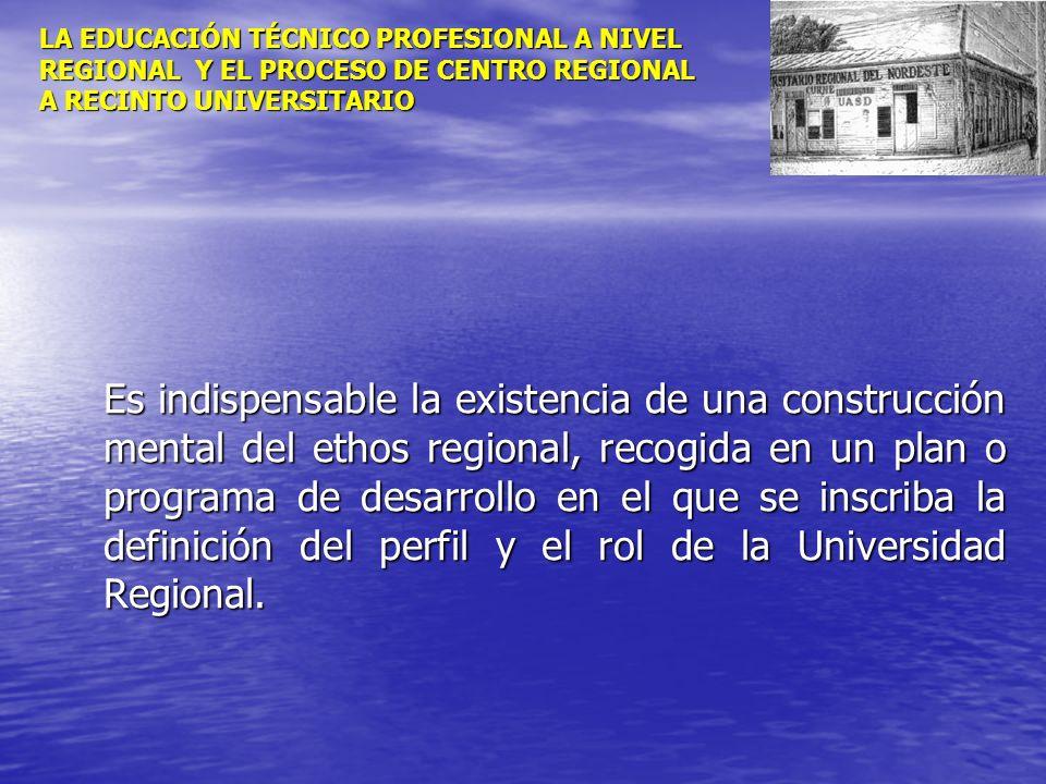 LA EDUCACIÓN TÉCNICO PROFESIONAL A NIVEL REGIONAL Y EL PROCESO DE CENTRO REGIONAL A RECINTO UNIVERSITARIO Es indispensable la existencia de una constr