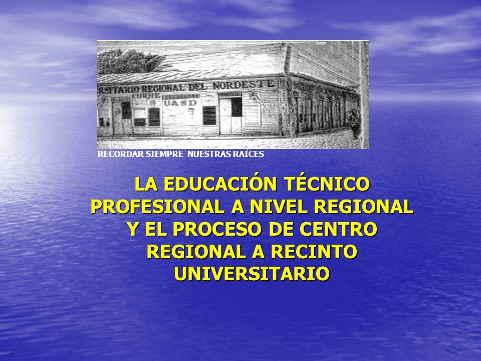 LA EDUCACIÓN TÉCNICO PROFESIONAL A NIVEL REGIONAL Y EL PROCESO DE CENTRO REGIONAL A RECINTO UNIVERSITARIO RECORDAR SIEMPRE NUESTRAS RAÍCES