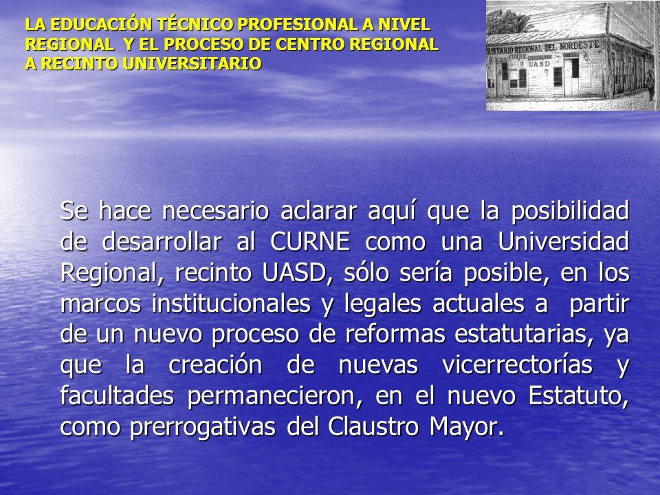 LA EDUCACIÓN TÉCNICO PROFESIONAL A NIVEL REGIONAL Y EL PROCESO DE CENTRO REGIONAL A RECINTO UNIVERSITARIO Se hace necesario aclarar aquí que la posibi