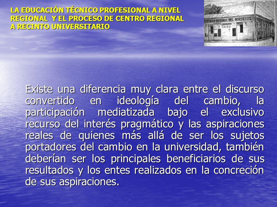 LA EDUCACIÓN TÉCNICO PROFESIONAL A NIVEL REGIONAL Y EL PROCESO DE CENTRO REGIONAL A RECINTO UNIVERSITARIO Existe una diferencia muy clara entre el dis