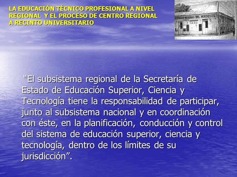 LA EDUCACIÓN TÉCNICO PROFESIONAL A NIVEL REGIONAL Y EL PROCESO DE CENTRO REGIONAL A RECINTO UNIVERSITARIO El subsistema regional de la Secretaría de E
