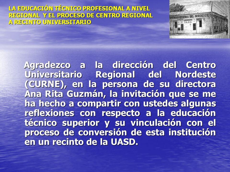 LA EDUCACIÓN TÉCNICO PROFESIONAL A NIVEL REGIONAL Y EL PROCESO DE CENTRO REGIONAL A RECINTO UNIVERSITARIO Agradezco a la dirección del Centro Universi