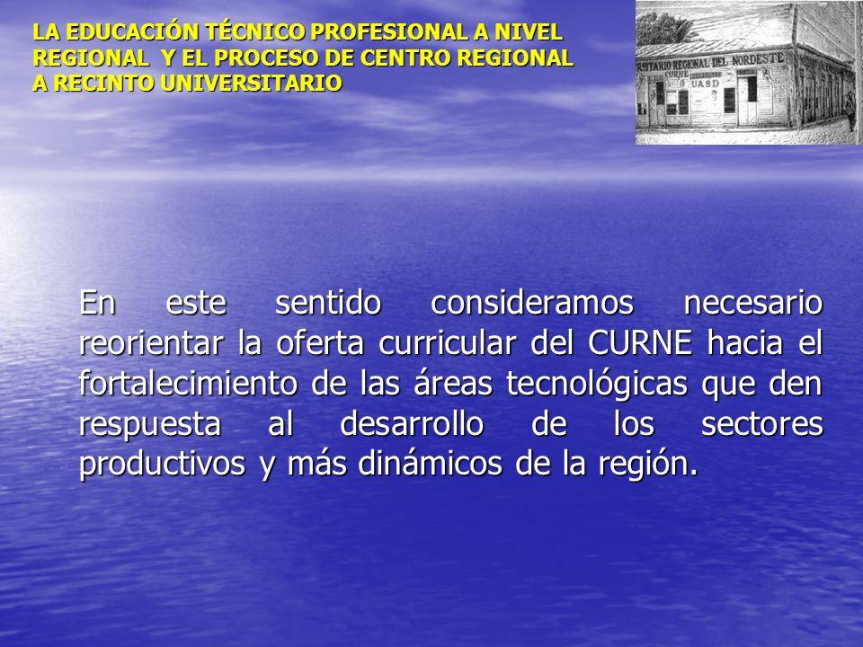 LA EDUCACIÓN TÉCNICO PROFESIONAL A NIVEL REGIONAL Y EL PROCESO DE CENTRO REGIONAL A RECINTO UNIVERSITARIO En este sentido consideramos necesario reori