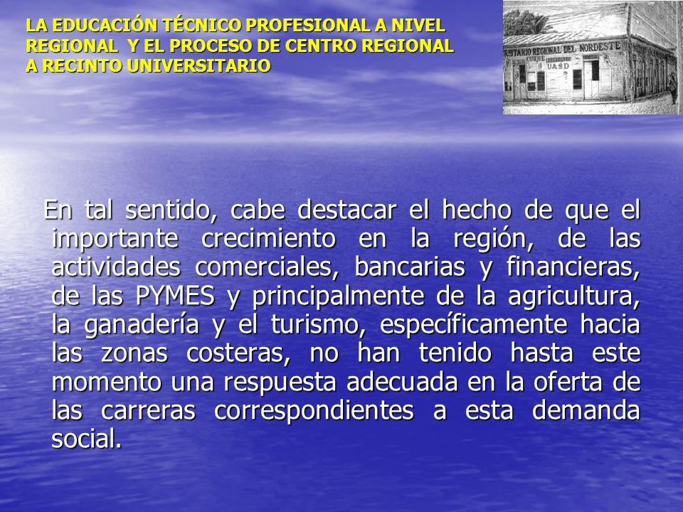 LA EDUCACIÓN TÉCNICO PROFESIONAL A NIVEL REGIONAL Y EL PROCESO DE CENTRO REGIONAL A RECINTO UNIVERSITARIO En tal sentido, cabe destacar el hecho de qu