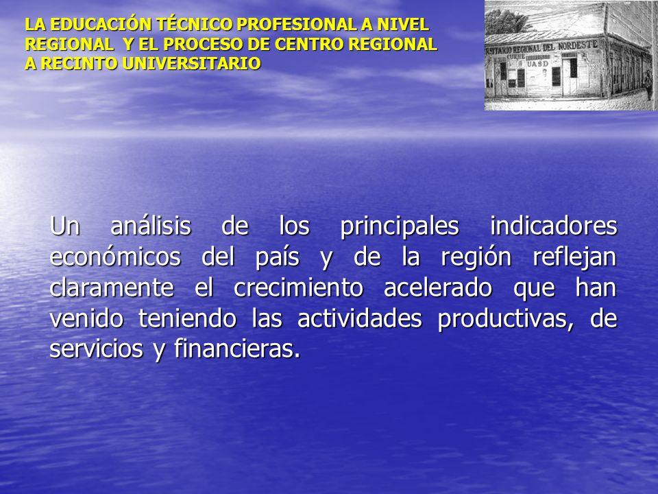 LA EDUCACIÓN TÉCNICO PROFESIONAL A NIVEL REGIONAL Y EL PROCESO DE CENTRO REGIONAL A RECINTO UNIVERSITARIO Un análisis de los principales indicadores e