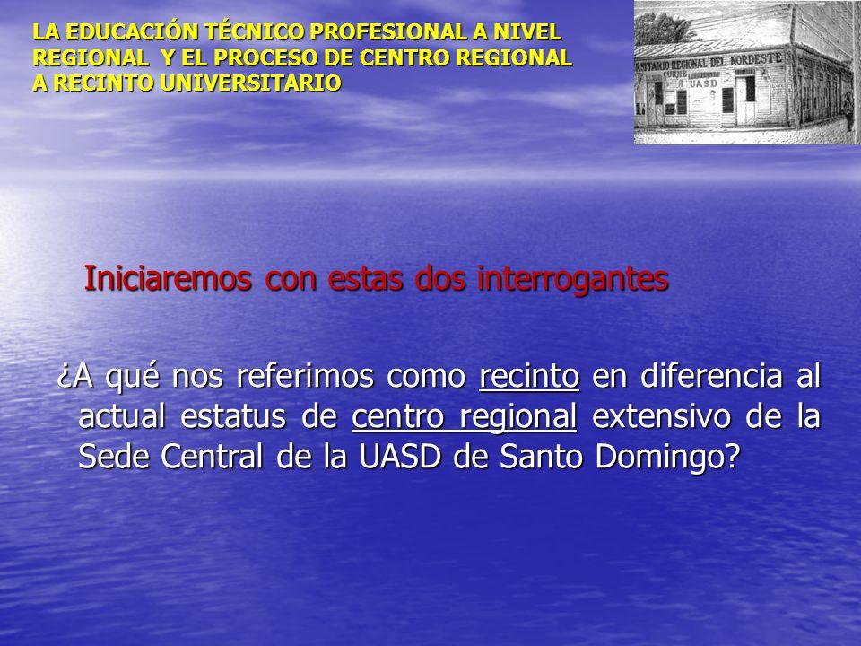 LA EDUCACIÓN TÉCNICO PROFESIONAL A NIVEL REGIONAL Y EL PROCESO DE CENTRO REGIONAL A RECINTO UNIVERSITARIO Iniciaremos con estas dos interrogantes Inic