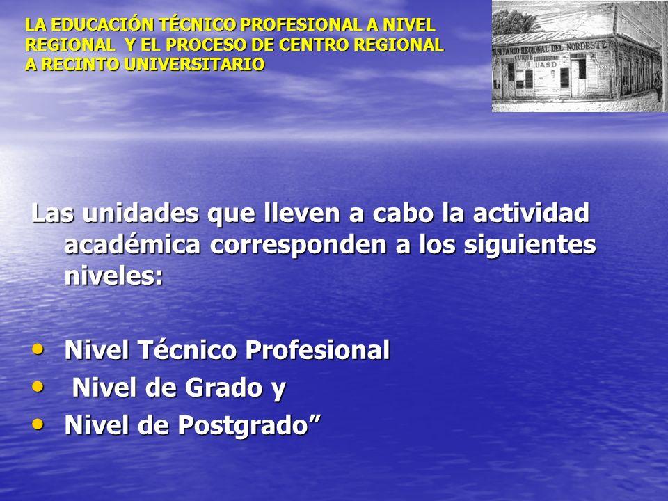 LA EDUCACIÓN TÉCNICO PROFESIONAL A NIVEL REGIONAL Y EL PROCESO DE CENTRO REGIONAL A RECINTO UNIVERSITARIO Las unidades que lleven a cabo la actividad