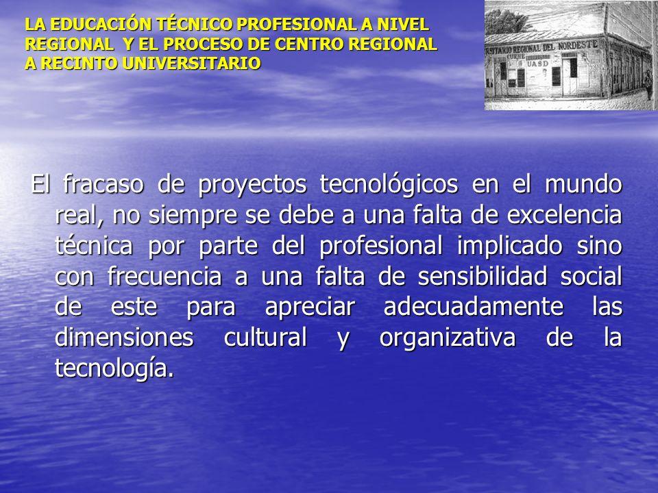 LA EDUCACIÓN TÉCNICO PROFESIONAL A NIVEL REGIONAL Y EL PROCESO DE CENTRO REGIONAL A RECINTO UNIVERSITARIO El fracaso de proyectos tecnológicos en el m