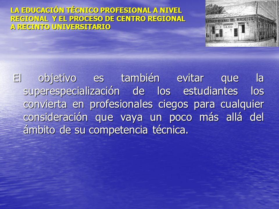LA EDUCACIÓN TÉCNICO PROFESIONAL A NIVEL REGIONAL Y EL PROCESO DE CENTRO REGIONAL A RECINTO UNIVERSITARIO El objetivo es también evitar que la superes
