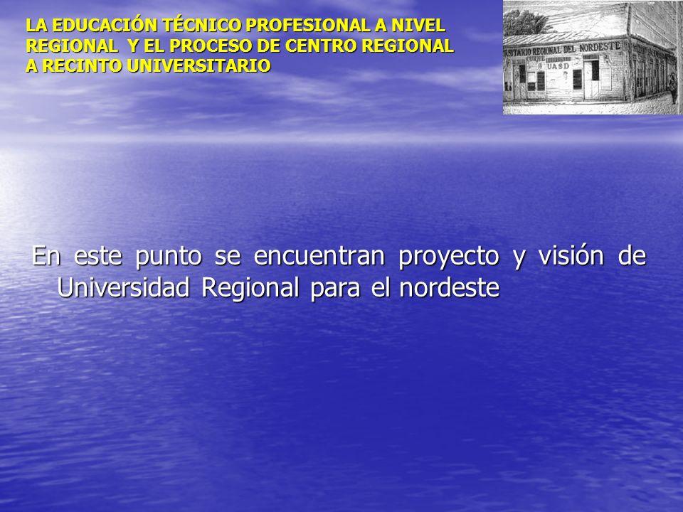 LA EDUCACIÓN TÉCNICO PROFESIONAL A NIVEL REGIONAL Y EL PROCESO DE CENTRO REGIONAL A RECINTO UNIVERSITARIO En este punto se encuentran proyecto y visió