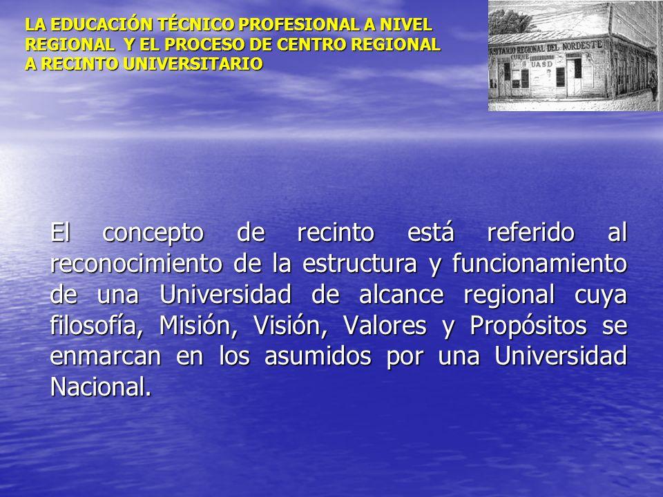 LA EDUCACIÓN TÉCNICO PROFESIONAL A NIVEL REGIONAL Y EL PROCESO DE CENTRO REGIONAL A RECINTO UNIVERSITARIO El concepto de recinto está referido al reco
