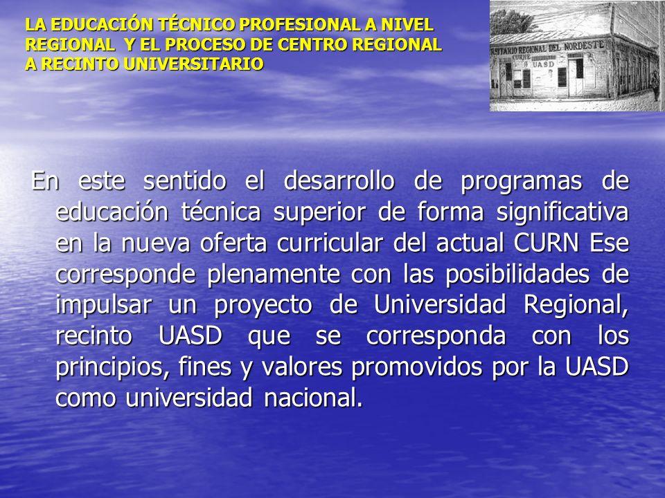LA EDUCACIÓN TÉCNICO PROFESIONAL A NIVEL REGIONAL Y EL PROCESO DE CENTRO REGIONAL A RECINTO UNIVERSITARIO En este sentido el desarrollo de programas d