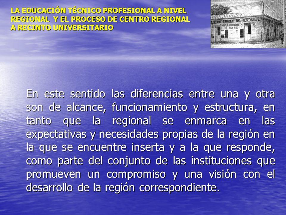 LA EDUCACIÓN TÉCNICO PROFESIONAL A NIVEL REGIONAL Y EL PROCESO DE CENTRO REGIONAL A RECINTO UNIVERSITARIO En este sentido las diferencias entre una y