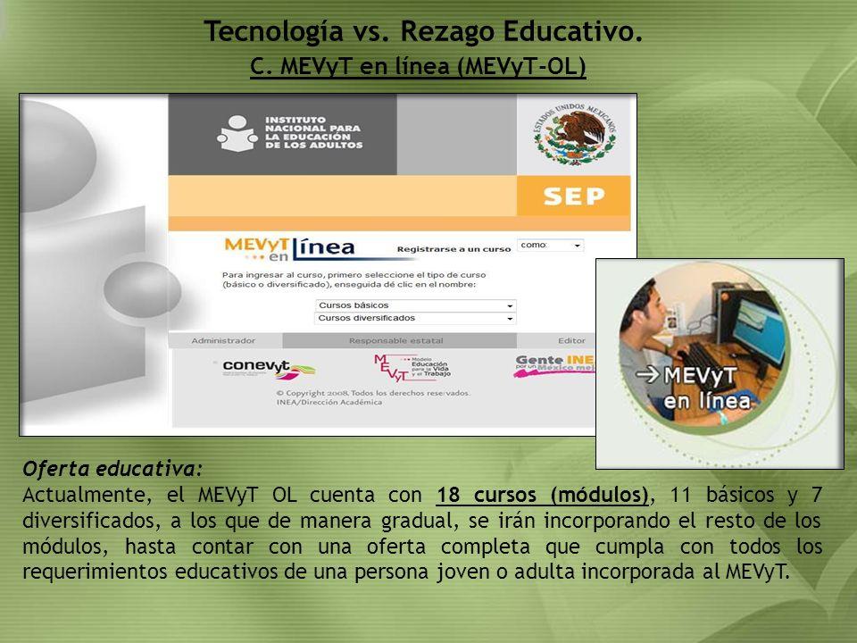 C. MEVyT en línea (MEVyT-OL) Tecnología vs. Rezago Educativo. Oferta educativa: Actualmente, el MEVyT OL cuenta con 18 cursos (módulos), 11 básicos y