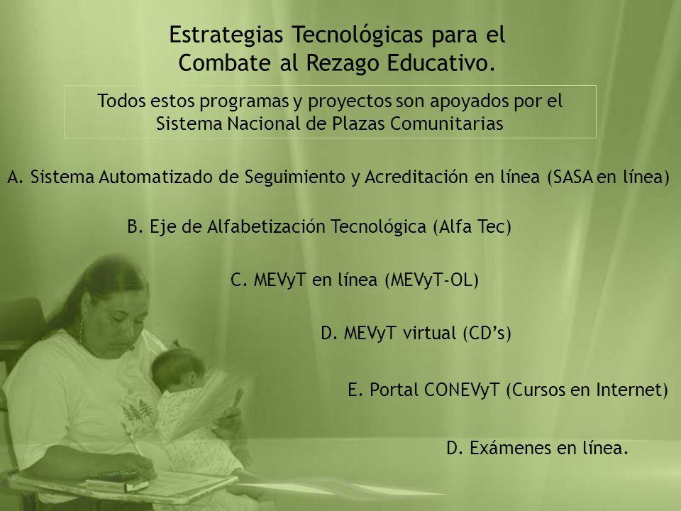 Estrategias Tecnológicas para el Combate al Rezago Educativo. A. Sistema Automatizado de Seguimiento y Acreditación en línea (SASA en línea) B. Eje de