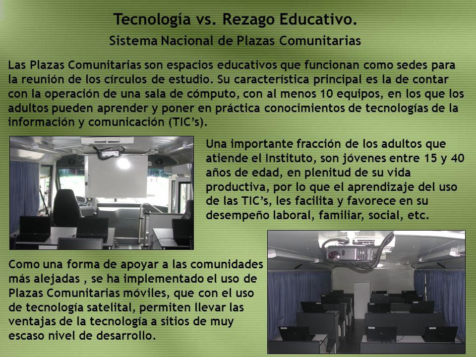 Sistema Nacional de Plazas Comunitarias Tecnología vs. Rezago Educativo. Las Plazas Comunitarias son espacios educativos que funcionan como sedes para