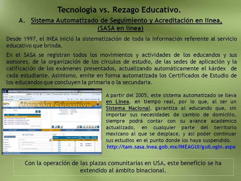 Tecnología vs. Rezago Educativo. A.Sistema Automatizado de Seguimiento y Acreditación en línea, (SASA en línea) Desde 1997, el INEA inició la sistemat