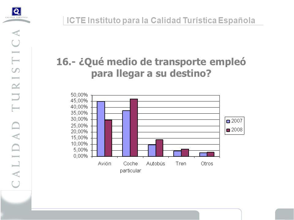 ICTE Instituto para la Calidad Turística Española 16.- ¿Qué medio de transporte empleó para llegar a su destino