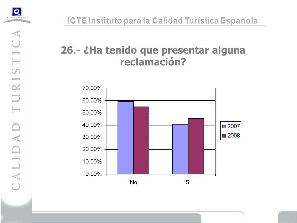 ICTE Instituto para la Calidad Turística Española 26.- ¿Ha tenido que presentar alguna reclamación