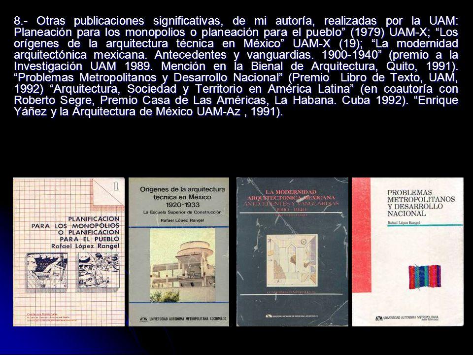 8.- Otras publicaciones significativas, de mi autoría, realizadas por la UAM: Planeación para los monopolios o planeación para el pueblo (1979) UAM-X;