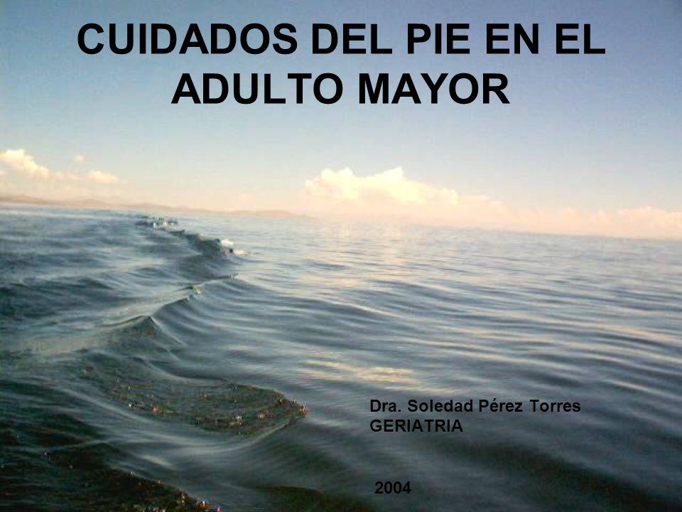 CUIDADOS DEL PIE EN EL ADULTO MAYOR Dra. Soledad Pérez Torres GERIATRIA 2004
