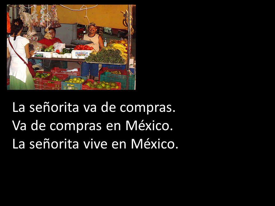 La señorita va de compras. Va de compras en México. La señorita vive en México.
