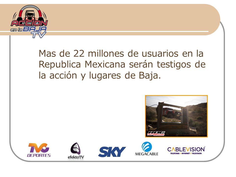 Mas de 22 millones de usuarios en la Republica Mexicana serán testigos de la acción y lugares de Baja.